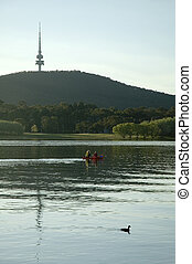 boating near Telstra towe - kayak with a woman and a boy,...