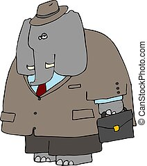 Elephant Business - This illustration depicts an elephant...