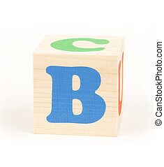 """letter b - brick with letter \\\""""b\\\"""", isolated on white..."""