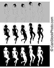 Dancing Girl Sequence - Silhouettes of nice girls dancing...