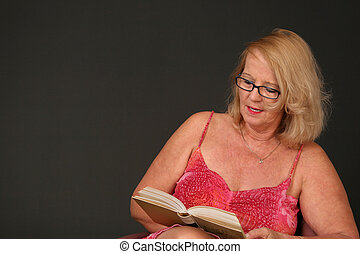 Mature lady reading