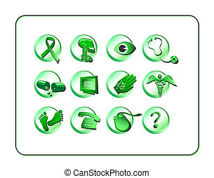 Medical & Pharmacy Icon Set - Green