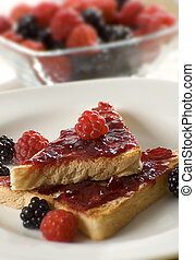 jam - toast with raspberry jam close up shoot