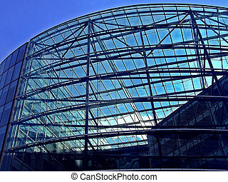 Glass facade - Big green tinted glass facade building