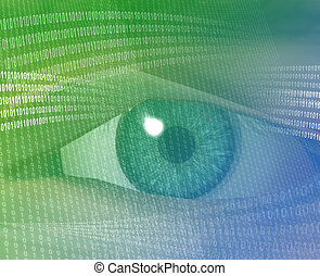 Digital vision - Eye viewing electronic information Green...