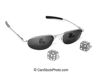 Cool Dice - Pair of dice sitting in front of sunglasses...