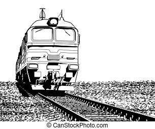 Locomotive - Illustration of a Russian locomotive with...