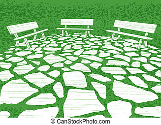 Patio - Illustration of three garden benches and paving...
