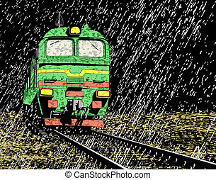 Rain train - Illustration of a Russian train in rain at...