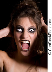 Screaming scary woman - Woman with strange white eyes...