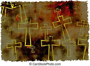 grunge cross - artistic grunge textured parched cross...