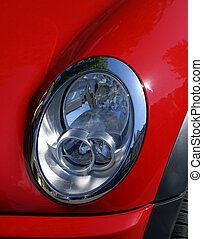 Red Car Headlight - Headlight on a Mini Cooper