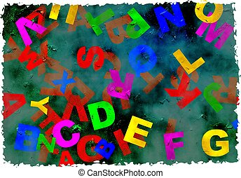grunge alphabet - letters of the alphabet on stained grunge...