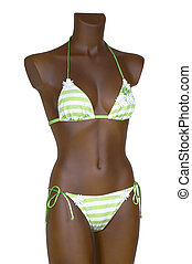 Striped bathing suit on a white background