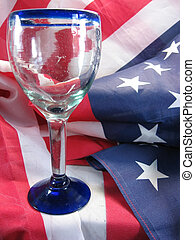 patriotism - american flag with mexican glass wine glass...