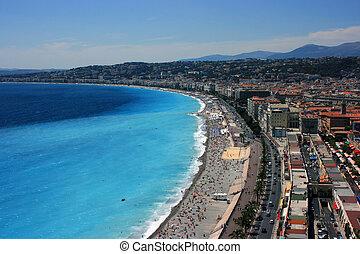 Promenade des Anglais - Aerial view of Promenade des Anglais...