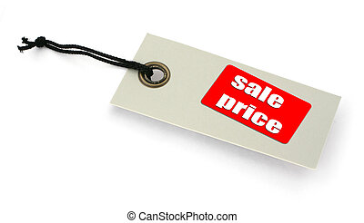 sale tag - close-up of a Sale tag against white, a small...