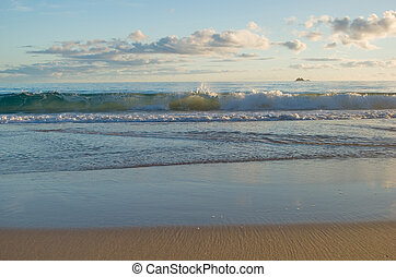 beach scene - a nice beach scene with waves reaching the...
