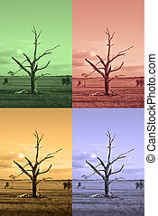 four seasons - an old farm with dead tree rendered to...