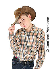 Country style - Child wearing a check shirt, belted denim...