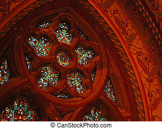 Stained Glass - Stained glass window in the old castle...
