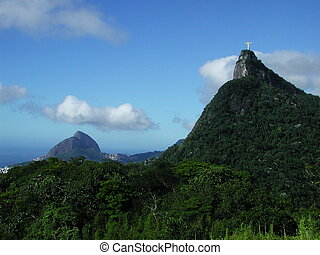 Corcovado - View from a distance of the statue of Christo...