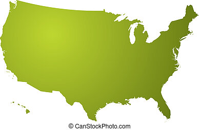 us map green - Illustration of a map of the us in different...
