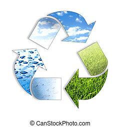 tres, elemento, reciclaje, símbolo
