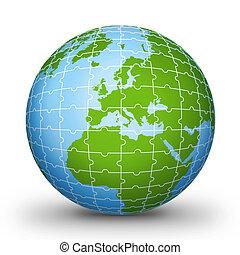 Puzzle world illustration red World globe - world...