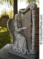 Cemetery Angel playing the harp