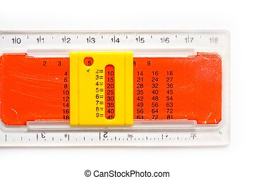 ruler with multiplication table on a white background