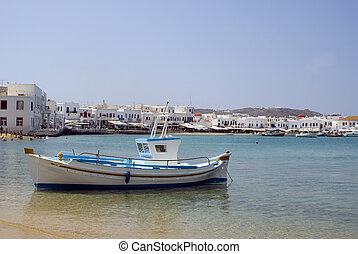 harbor greek island - greek island harbor with fishing boat...