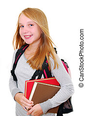 Back to school - Young smiling school girl with backback and...