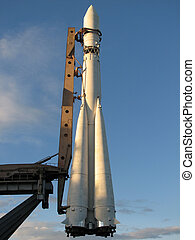 Space rocket in the evening - Space rocket at the launch pad...