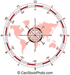 Compass in World - World in Compas illustration