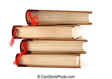 Books with bookmarks on white background - Four stacked...