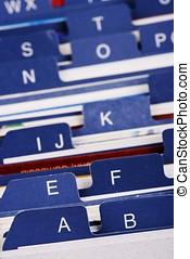 Desktop Business Card Index Holder - Close up of desktop...