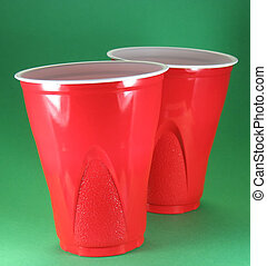 red disposable cups - party picnic and celebration...