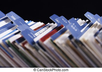 Desktop Business Card Index Holder - Close up of desktop...