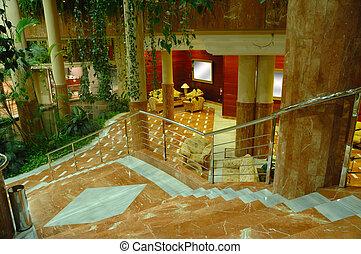 ホテル, 階段, ロビー