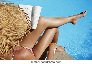 Woman Reading by Pool - Pretty girl in sunhat reading by...