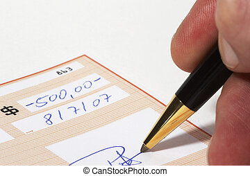 Writing a bank check - *** note: check, numbers and...
