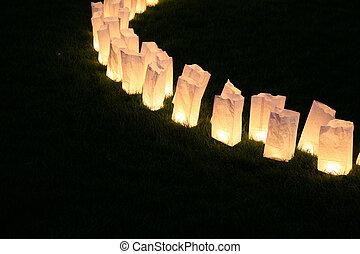 saco, papel, lâmpadas