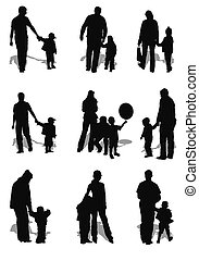 family - isolated kids and parents (men and women) on white...