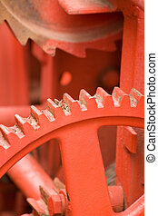 Gearwheels - red Gearwheels close up shot