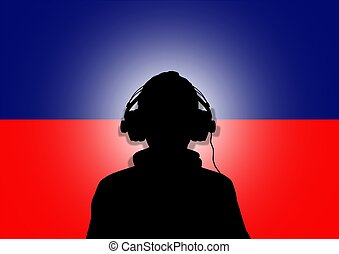 Haiti Music - Illustration of a person wearing headphones...