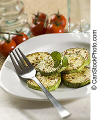 courgette baked with mint close up shoot