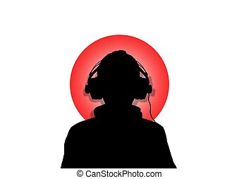 Japan Music - Illustration of a person wearing headphones...