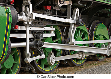 steam power - close up of the wheels of a large steam train...