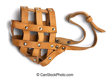 leather muzzle - Brown leather muzzle on a white background